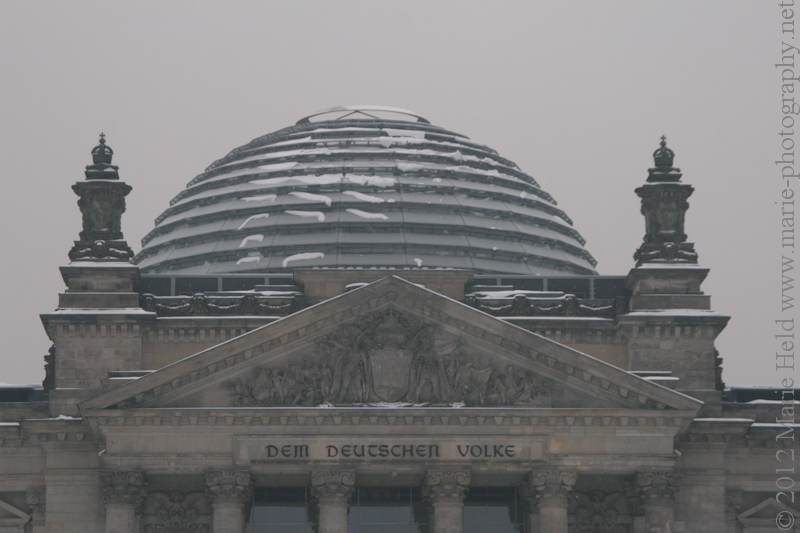 Glass dome of the Reichstag building which houses the German parilament.