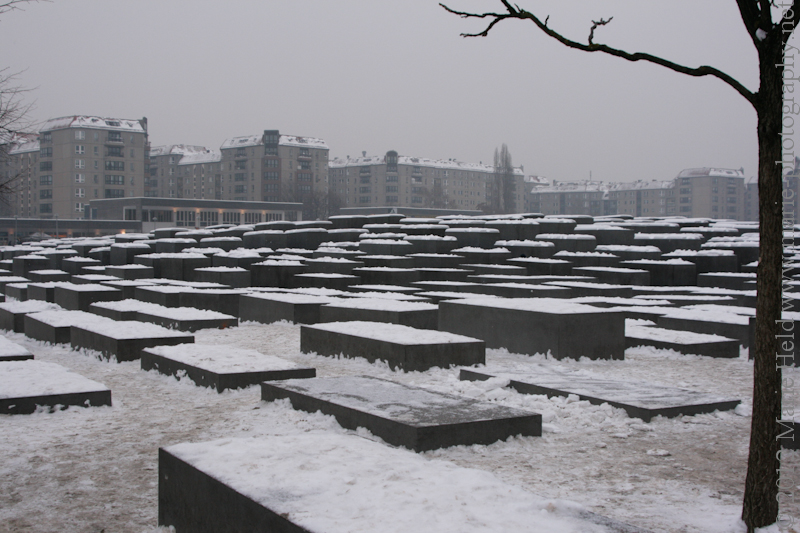 Memorial to the mordered Jews of Europe under a snowy cover.