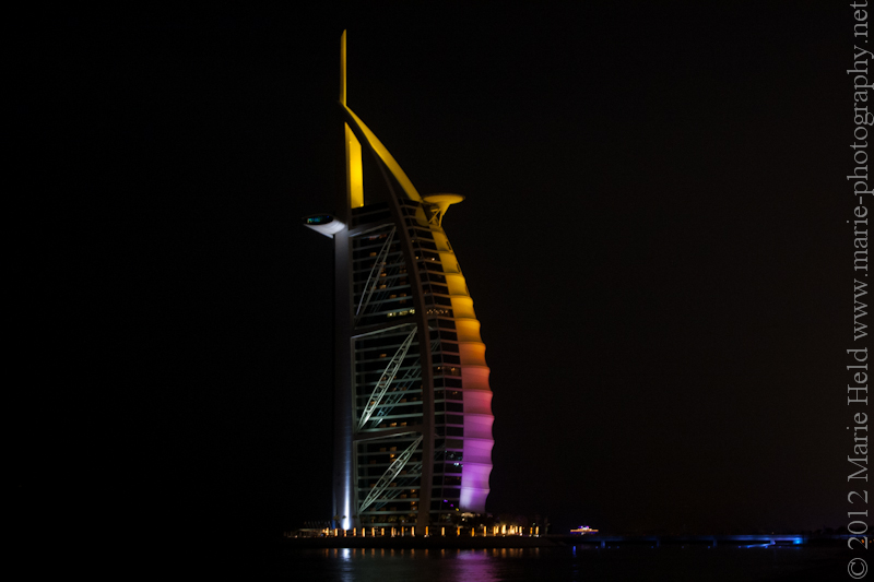 Burj al Arab at night.