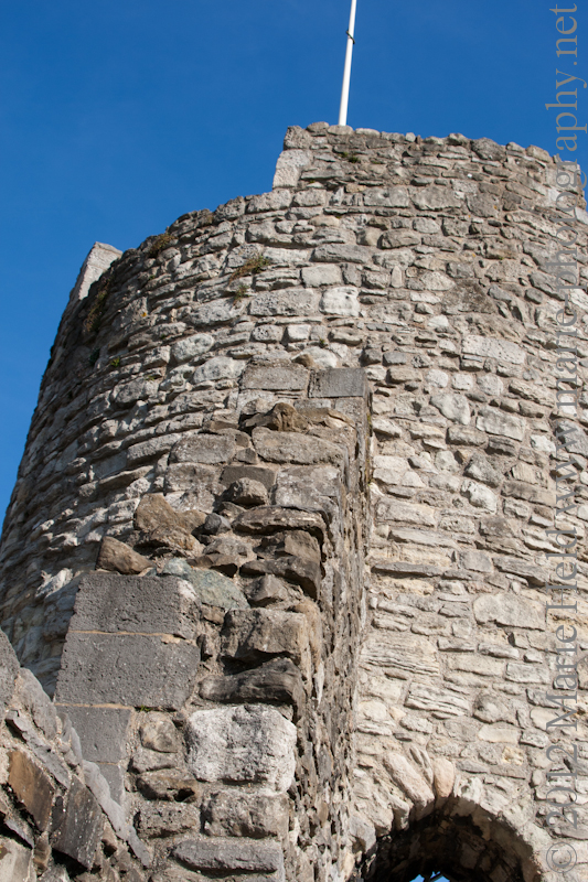Medieval defensive wall tower.